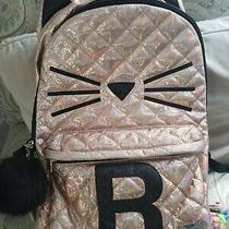 Justice Girls Quilted Cat Kitty Initial Backpack Rucksack School Bag Rose Gold Photo