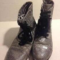 Justice Kids Silver Glitter Lace Up Commando Boots Sz 8 Euc Photo