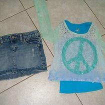 Justice Top Shirt Mossimo Supply Jean Denim Skirt 7 8 Girls Clothes Outfit Green Photo