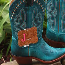 Justin Nwt Leather Laced Turquoise-Hue Torino Cowgirl Boots Snip Toe Size 5.5 Photo