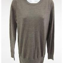 k.a.7 Heathered Brown Merino Wool Long Sleeve Crew Neck Sweater Sz M Photo