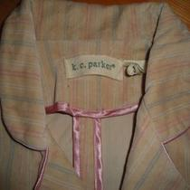 K. C. Parker Blush Pink Striped Velvet Jacket Girls Sz 12 Euc Photo