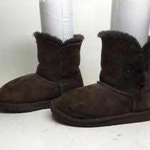 K Girls Ugg Australia Bailey Button Winter Suede Dark Brown Boots Size 4 Photo