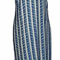 K Jordan Dress Sz M Striped With Fringe Element Royal Blue / White Photo