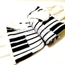 K-Pop Idol Fashion Rock Raver Music Piano Key Gloves Stripes Happy Shinee Party Photo