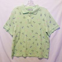 K.t. Golf Mint Green Polo Shirt Bags Clubs Flags Flowers Balls Size L Photo