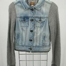 K0539 Aeropostale Women's Button Down Denim Hood Trucker Jacket Size Xs Photo