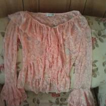 Kaelyn-Max Beautiful Blush Pink Ruffle Lace Top Small Stretchy Photo
