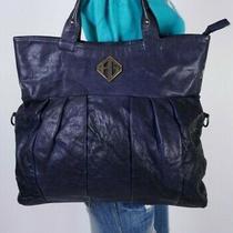 Kage Large Blue Leather Shoulder Hobo Tote Satchel Purse Bag Photo