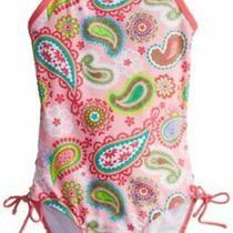 Kanu Surf Big Girls' Layla Beach Sport Banded 1 Piece Swimsuit Pink Size 14 S Photo