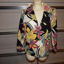 Karen Kane Cotton Jacket Blazer Size 6 Fun Abstract Colorful Fun Buttons Photo