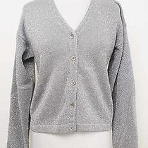 Karen Kane Gray & Metallic Silver Wool Cardigan Sweater Size Large - 1970 St01 Photo