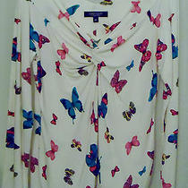 Karen Kane  Lg Sleeve Butterfly Print Knit Top Size Medium    Free Shipping Photo
