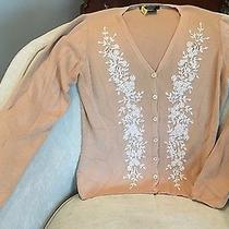 Karen Kane Lifestyle Beige Cardigan Sweater W/ Ivory Embellishments Size Small Photo