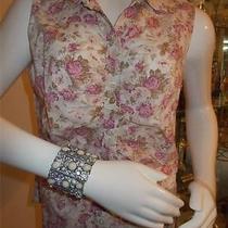 Karen Kane Lifestyle Blouse (L) 100% Cotton and Unique Cuff Bracelet Photo