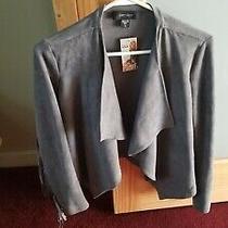 Karen Kane Northern Lights Faux Suede Jacket Drape Front  Fringe Sleeves Size S Photo
