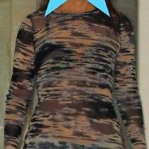 Karen Kane Top Stretch Long Sleeve See Through Camouflage Blue Photo