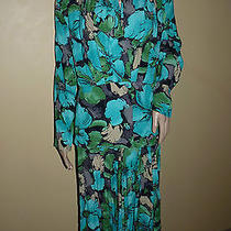 Karen Kane Vintage Dress 2 Pc Women's Tropical Skirt Top Rayon Floral 4 6  Photo