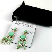 Karen Kane Women Green Chandelier Silver Tone Drop Earrings 00966 Photo