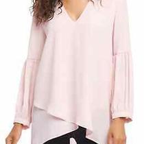 Karen Kane Women's Blouse Blush Pink Size Xs Pleat Sleeve v-Neck 98 635 Photo