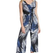 Karen Kane Women's Jumpsuit Blue Size Medium M Tie Front Leaf Print 139 264 Photo