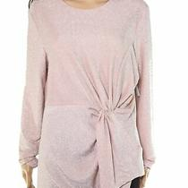 Karen Kane Womens Blouse Blush Pink Medium Pm Petite Lurex Twist-Knot 98 309 Photo