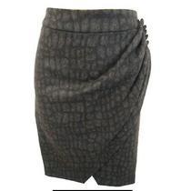 Karen Millen Dark Grey Croc Print Draped Wool Mix Skirt Size 10 Photo