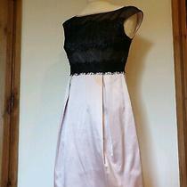 Karen Millen Pale Blush Pink & Black Lace Top Dress Size 10 Eu 38 Photo