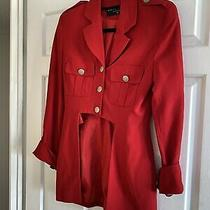 Karen Millen Red Millitary Blazer Jacket Balmain 8 Pure New Wool Photo