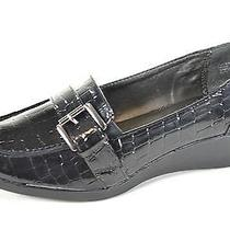 Karen Scott 5.5 M Samora New Women's Black Patent Croc Wedge Loafers Shoes Heels Photo