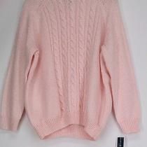 Karen Scott Plus Size Sweater 0x Long Sleeve Cable Knit Mock Neck Blush Pink New Photo