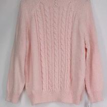 Karen Scott Plus Size Sweater 1x Long Sleeve Cable Knit Mock Neck Blush Pink New Photo