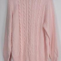 Karen Scott Plus Size Sweater 1x Long Sleeve Cable Knit Mock Neck Blush Pink New Photo