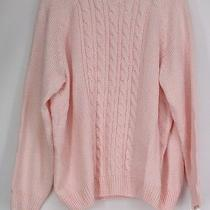 Karen Scott Plus Size Sweater 3x Long Sleeve Cable Knit Mock Neck Blush Pink New Photo