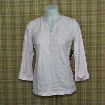 Karen Scott Womens Small S Blush Pink Long Sleeve v-Neck Tunic Top Blouse Photo
