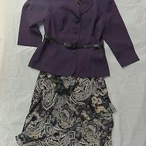 Karin Stevens Beautiful 3pc Blazer/belt/skirt Set Purple/gray/cream/blue Size 8 Photo