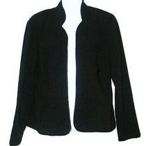 Karin Stevens Black Cardigan Open Front Career Blazer Jacket Size 8 Photo