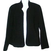 Karin Stevens Black Cardigan Open Front Career Blazer Jacket Size 8 Photo