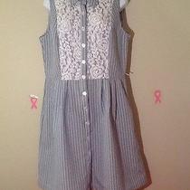 Karin Stevens Blue and White Striped Lace Bib Retro Style Vintage Dress 12 L Euc Photo