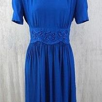 Karin Stevens Short Sleeve Blue Formal Dress Embroidery Size 6 Shoulder Pads Photo