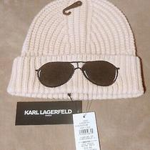 Karl Lagerfeld Pink Blush Knit Beanie Embroidered Black Sunglasses New W/ Tags Photo
