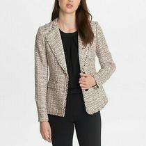 Karl Lagerfeld Size 12 Blush Multi Fringed Tweed Blazer Jacket Msrp 149.50 Photo