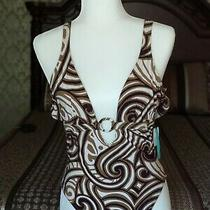 Karla Colletto Swimsuit O Ring Detail 70s Style Vibes Print Size 12 Photo