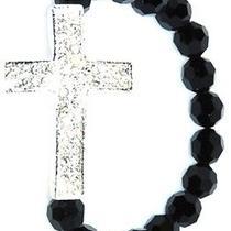 Karmaloop K.d. Rosaries Black and Silver Swarovski Crystal Rosary Bracelet Silve Photo