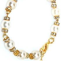Karmaloop K.d. Rosaries Swarovski Pearl and Gold Crystal Rosary Bracelet Pearl Photo