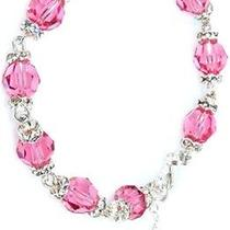 Karmaloop K.d. Rosaries Swarovski Pink Crystal Rosary Bracelet Pink/silver Photo