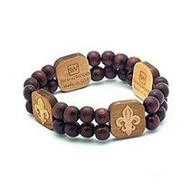 Karmaloop Swaggwood Fleur De Lies Wood Charm Bracelet Maple/brown/natural Photo