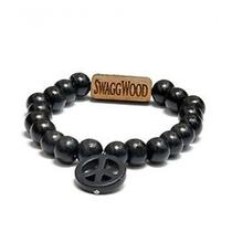 Karmaloop Swaggwood Peace Sing Natural Stone Charm Bracelet All Black Photo
