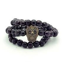 Karmaloop Swaggwood Skull Wood Charm Bracelet Maple/brown/natural Photo