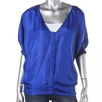 Kas New York New Womens Sz Xs S Blue 100% Silk Smocked Button Down Top Blouse  Photo